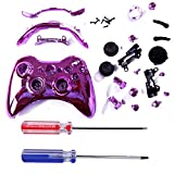 HDE Custom Replacement Wireless Game Controller Shell Case Cover Kit for Xbox 360 - Includes Button Set, Torx & Phillips Head Screwdrivers (Pink Chrome)