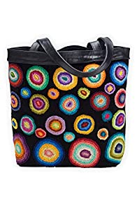 Tey-Art Circle Me Hand Embroidered Fair Trade Shoulder Bag (Black)