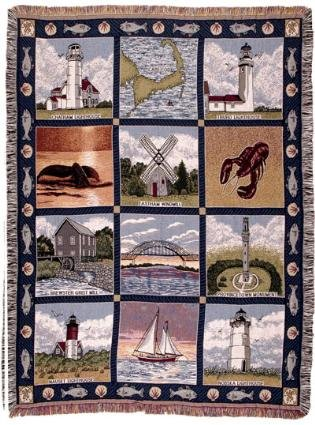 "Cape Cod Massachusettes Tapestry Throw Blanket Afghan 50"" X 60"" front-872935"