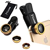 3in1 Clip On Camera Lens Kit Costech Universal HD 180 Degree Fisheye 0.67X Wide Angle Macro For Iphone6 6s 6 Plus 5s Samsung Galaxy Windows And Android Smartphones (gold)