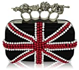 Ladies Black Union Jack Skulls Knuckles Rings Clutch Evening Bag KCMODE
