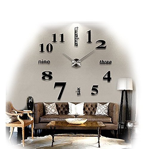 Modern Frameless Large 3D DIY Wall Clock Kit Decoration Home for Living Room Bedroom (black) (Extra Large Clock Hands Kit compare prices)