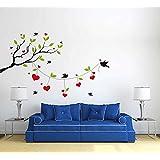Rawpockets Heart-in Love Birds On Tree' Wall Decal Sticker