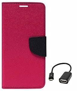 DMG Mercury Goospery Case Fancy Diary Flip Wallet Cover for Samsung Galaxy S4 Mini i919 (Magenta) + USB OTG Cable