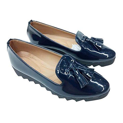 hengfeng-cuero-borla-barco-zapatos-36-eu-azul-oscuro