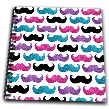 3Drose Db_112881_1 Bold Mustache Pattern Pink Purple Blue And Black Mustaches Girly Trendy Teen Cool Fun Design Drawing Book, 8 By 8-Inch