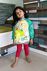 PIGLOO Kids Long Sleeved Waterproof Smock Apron Bib for Painting, Art & Craft, Eating, Age: 3-5 Years (Pattern: Dinosaur)