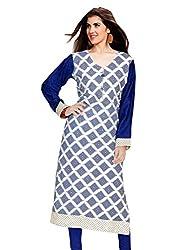 Jcm Rayon Printed Blue and Wight Kurti L Size