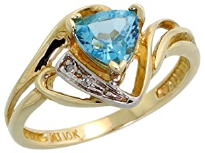 10k Gold Trillion Ring, w/ Brilliant Cut Diamonds & Trillant Cut December Birthstone 6mm Blue Topaz Stone, 7/16 in. (11mm) wide, size 4.5