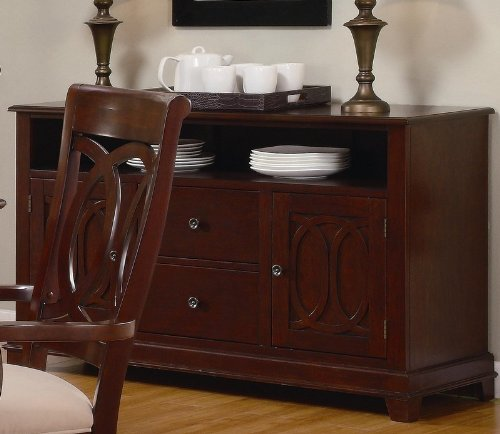Cheap Server Sideboard with Carved Detail in Warm Brown Cherry Finish (VF_102035)
