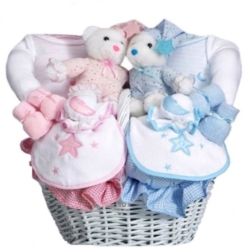 Baby Gift Baskets For Triplets : Baby shower gift basket for twin babies boy and girl