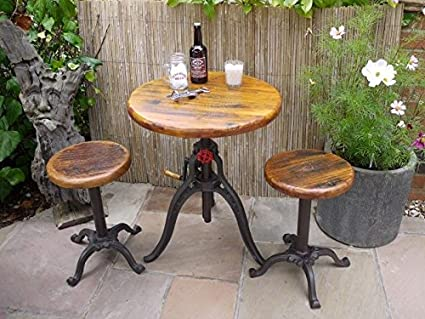 S/3 Industrial Cast Iron & Oak Bistro Cafe Bar Breakfast Dining Table & 2 Stools