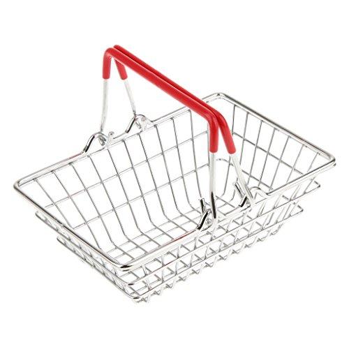 élégant Rouge Mignon Mini-panier Chrome Puces Présentation Shopping Panier Alimentaire