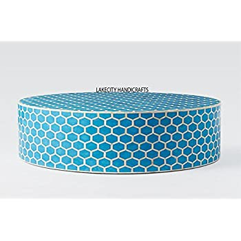 Bone Inlay Honeycomb Round Coffee Table