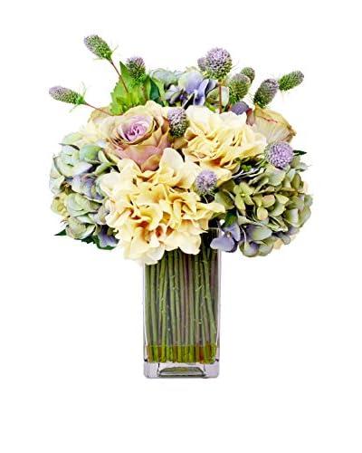 Creative Displays Inc. Antique Rose and Thistle Floral Vase, Lavender/Pink/Crème/Green
