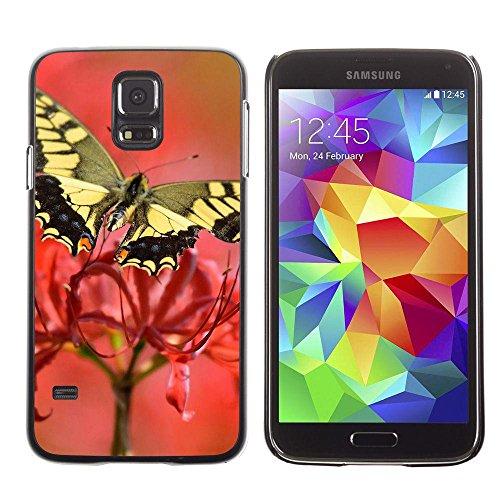 Gomma caso di Shell duro della copertura di accessorio di protezione BY RAYDREAMMM - Samsung Galaxy S5 SM-G900 - Moth Butterfly Flower Spring Nature