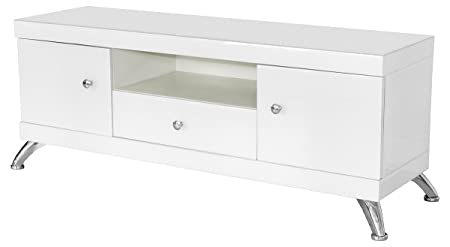 Febland Low TV Cabinet, Glass, White