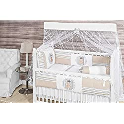 Royal Bear Themed Beige Baby Boy 10 Pcs Nursery Crib Bedding Set Embroidered