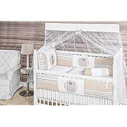 Royal Bear Themed Beige Baby Boy 10 Pcs Nursery Crib Bedding Set Embroidered