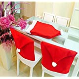 Generic 6 Pcs 50*60cm Santa Red Hat Chair Covers Merry Christmas Decor Dinner Chair Xmas Cap Sets Home Room Indoor...