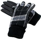 (マルカワジーンズパワージーンズバリュー) Marukawa JEANS POWER JEANS VALUE 手袋 メンズ グローブ スマホ対応 スマートフォン対応 タータンチェック PUレザー 裏ボア ビジネス 2color Free ブラック