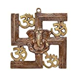Bagru Crafts Wall Hanging Of Lord Ganesha On Swastik With Om Showpiece