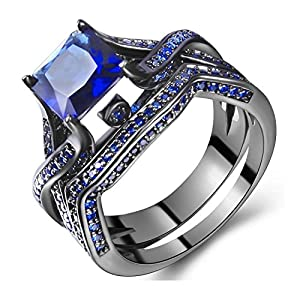 14K Black Gold Plated Princess Cut Blue Diamond Wedding Rings for Women