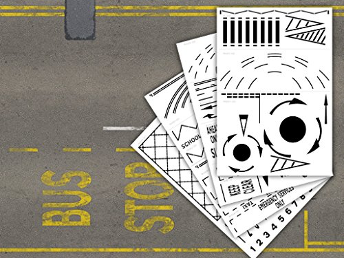 laser-cut-mylar-road-marking-stencils-for-model-railways-diecast-dioramas-oo-4mm-176