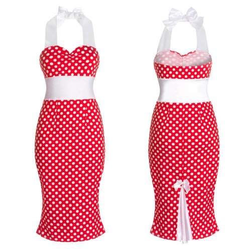 New 50s Ladies Polka Dot Pencil Fitted Wiggle Retro Vintage