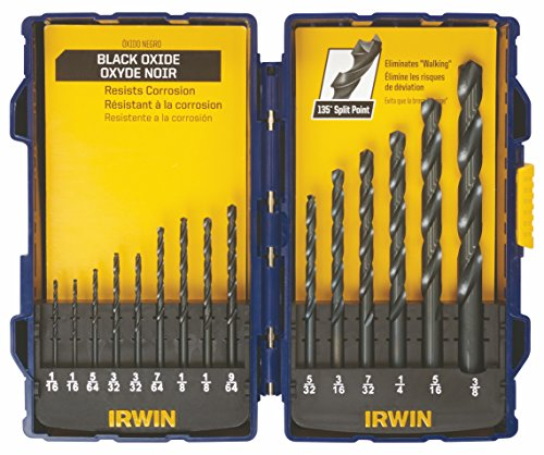 IRWIN Tools Black Oxide Drill Bit Set, 15-Piece (314015)