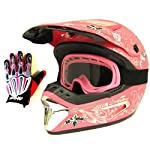 1Storm Motocross MX BMX Helmet Dragon Pink with Retractable Visor + Goggles + Skeleton Pink Glove Bundle (Medium)