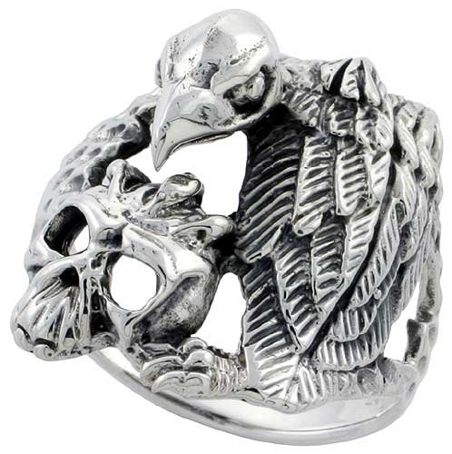 Sterling Silver Gothic Biker Vulture with Skull Ring 1 inch (25 mm) wide, size 11