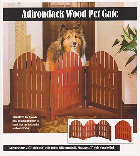 3 Section Adjustable Folding Wooden Adirondack Pet Gate - Walnut