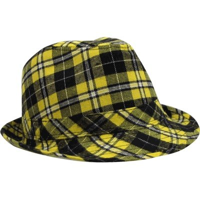 Fedora Hat Flannel Plaid - Black & Gold from PrivateLabel
