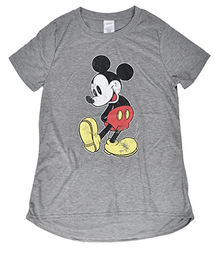 [Disney Juniors Minnie and Mickey Mouse Crewneck Jersey T-Shirt (Gray Distressed Mickey, Medium)] (Family Disney Shirts)