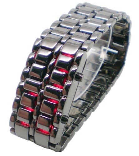Baolihao Black Metal Strip Digital Lava Style Iron Women Sport Red Led Faceless Wrist Watch Wth0411