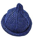 【Yuson Girl】折りたためる 麦わら帽子 風 とんがり帽子 エコアンダリア を使った 軽くて かわいい 手編み 帽子 (ネイビー)