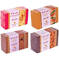 Khadi Mauri Rose-Sandal, Papaya, Honey & Almond Herbal Soap Combo (Pack Of 4) - Herbal Handcrafted