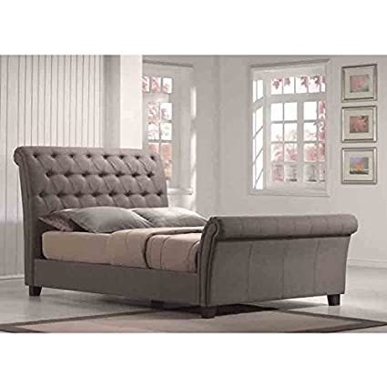 Innsbruck Contemporary Linen Upholstered Hardwood Sleigh Bed with Deep Button Tufting and Multiple Support Slats