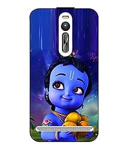 Case Cover Krishna Printed Blue Hard Back Cover For Asus Zenfone 2