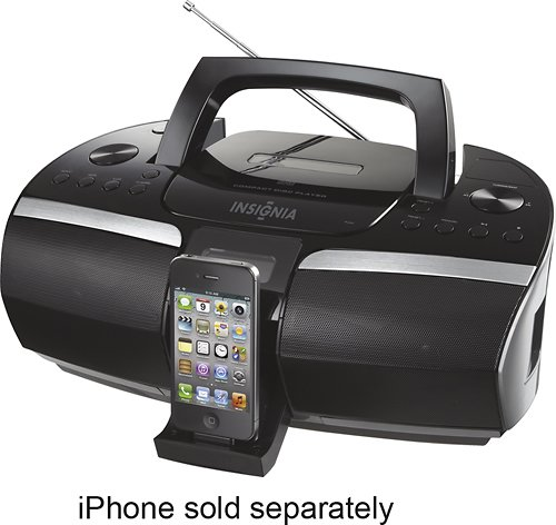 InsigniaTM - Cd Boombox with Fm Radio and Apple® Iphone® and Ipod® Dock