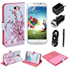 (TRAIT)6in1 Pink Flower PU Leather Wallet Cases Protective Skin for Samsung Galaxy Note II 2 N7100 Flip Case Folio Cover Stand Holder +Car Charger +Wall Charger Adaptor +USB Data Cable +1*touch Screen Pen +Screen Protector