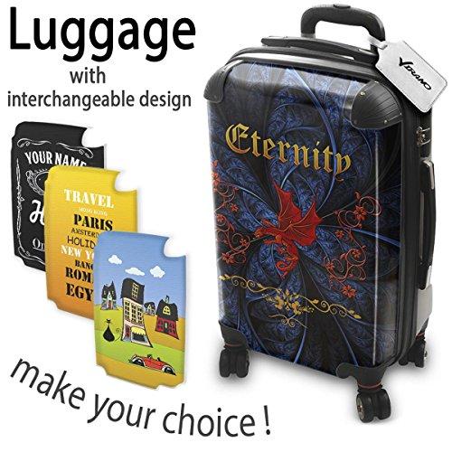 Gotico 017, Drago Rosso, Luggage Valigia Bagaglio Ultraleggero Trasportabile Rigido con 4 Route e Disegno Intercambiabile. Dimensione: Formato Cabina S