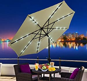 Outsunny 9' Outdoor Patio Umbrella w/ Tilt & Solar Powered LED Lights by Outsunny