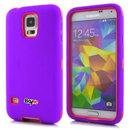 Buy  Bayke Brand / Samsung Galaxy S5 SV 3-Piece Premium Armorbox Armor Defender Case High Impact Dual Layer Hybrid Protective Case Without Built-in Screen Protector (Purple / Hot Pink)