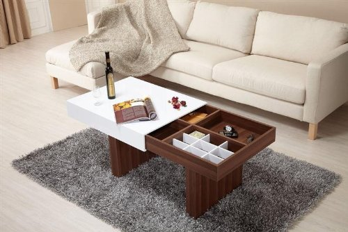 Enitial Lab YNJ-916CT Luxer Coffee Table with Sliding Top and Storage Compartments (YNJ-916CT)