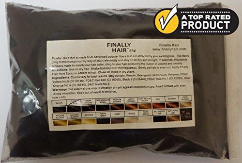 Hair Building Fibers - Soft Black Refill 50 Gram Refill. Refill Your Existing Fiber Bottle - Hair Filler Fibers. Cover Grey Roots Concealer by Finally Hair (50g 50gr 50gram 50 G Gr Soft Black)