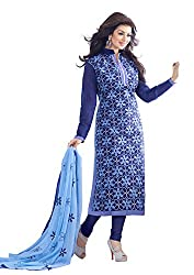 Blissta Blue Chanderi Embroidered Wedding wear Dress Material