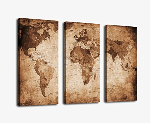 Vintage Map Art Canvas Prints Wall Art Decor Framed 30x42 Inch - 3 Panels Large Retro World Map Antiquated Map of World Abstract Painting Pictures Giclee Art Reproductions for Home Office Decoration