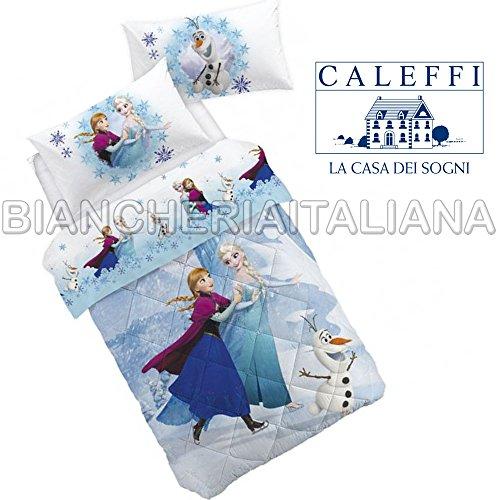 CALEFFI Trapunta Disney FROZEN ELEGANCE Singola Una Piazza INVERNALE 100% Cotone STAMPA DIGITALE